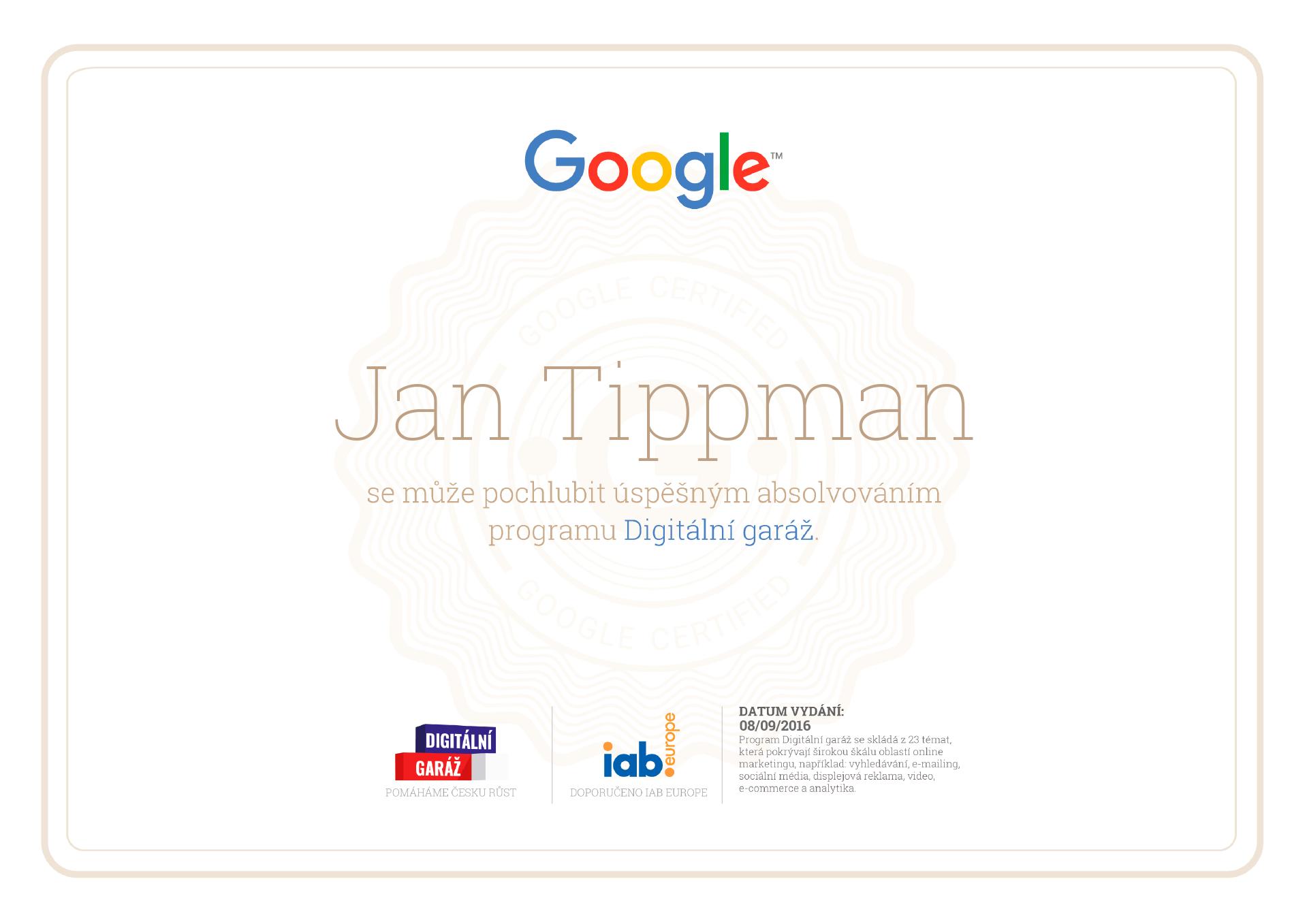 Certifikát kurzu Digitální garáž